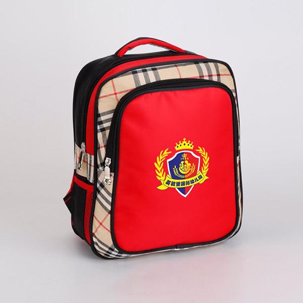 双肩红色+格子幼儿书包